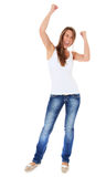 Cheering young woman Royalty Free Stock Image