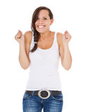 Cheering young woman Royalty Free Stock Photo