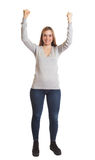 Cheering young woman - complete body Stock Image