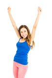 Cheering young woman Royalty Free Stock Photos