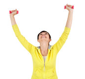 Cheering young woman working out Royalty Free Stock Photo
