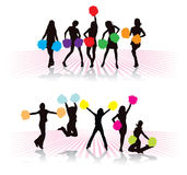Cheerleader. Girls group with colorful pompoms Stock Images