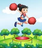 A cheerleader above a trampoline. Illustration of a cheerleader above a trampoline Stock Images