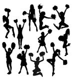 Cheerleader Activity Silhouettes Stock Afbeeldingen