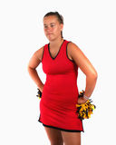 Cheerleader with an attitude stock images