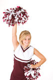 Cheerleader: Cute Woman Cheering With Poms In The Air Stock Image