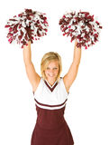 Cheerleader: Cute Woman Cheering With Poms In The Air Stock Photos