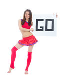 Cheerleader dancer from cheerleading team holding sign go Stock Photo