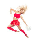 Cheerleader dancer from cheerleading team jumping Royalty Free Stock Image
