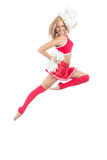 Cheerleader dancer from cheerleading team jumping Royalty Free Stock Images