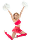 Cheerleader dancer from cheerleading team jumping Stock Photos