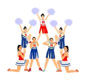Cheerleader dancers figure vector illustration isolated. Cheer leading girl sport support. High school, college cheer leading team. Cheerleader dancers figure stock photography