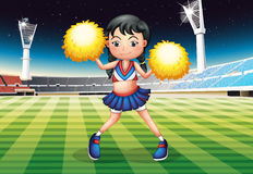 A cheerleader dancing in the stadium with her yellow pompoms. Illustration of a cheerleader dancing in the stadium with her yellow pompoms Royalty Free Stock Photos