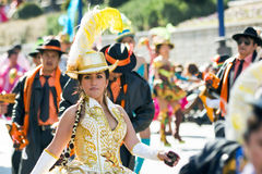 Cheerleader dancing with tipycal costume in carnival Stock Photo