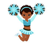 Cheerleader in der Türkisuniform mit Pom Poms Stockfoto