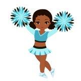Cheerleader in der Türkisuniform mit Pom Poms Stockfotografie