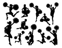 Cheerleader Silhouettes. Cheerleader detailed silhouettes with pompoms stock illustration
