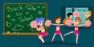 Cheerleader die in eenvormig met pom dansen poms Royalty-vrije Stock Foto's