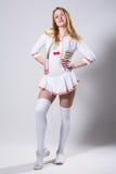 Cheerleader die op wit wordt geïsoleerd Royalty-vrije Stock Afbeelding