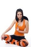 Cheerleader die op wit wordt geïsoleerdn Royalty-vrije Stock Afbeelding