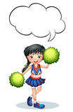 A cheerleader with an empty callout. Illustration of a cheerleader with an empty callout  on a white background Stock Image