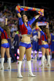 Cheerleader of FC Barcelona. In action during a Euroleague match between FC Barcelona vs Panathinaikos at the Palau Blaugrana on April 9, 2013 in Barcelona Stock Photos