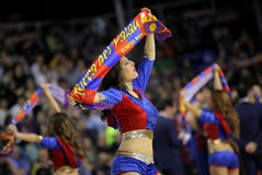 Cheerleader of FC Barcelona. In action during a Euroleague match between FC Barcelona vs Panathinaikos at the Palau Blaugrana on April 9, 2013 in Barcelona Stock Photography