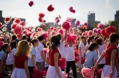 Cheerleader flash-mob Stock Photo