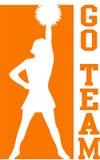 Cheerleader gaat de Sinaasappel van het Team/eps Stock Foto's