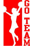 Cheerleader gaat Team Red/EPS royalty-vrije illustratie