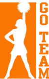 Cheerleader gehen Team-Orange/ENV Stockfotos