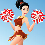 The cheerleader girl. Illustration of pretty girl in cheerleader uniform with pompons in her hands drawn in cartoon style vector illustration