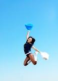 Cheerleader girl jumping Royalty Free Stock Images
