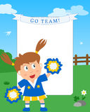 Cheerleader Girl Photo Frame. Photo frame, invitation card or page for your scrapbook. Subject: a cheerleader girl playing in a park. Eps file available vector illustration