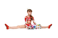 Cheerleader girl with pompoms Royalty Free Stock Photos