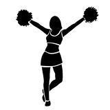 Cheerleader girl silhouette. Contour girl with hands up waving pompoms. Isolated on white background. Vector.  Stock Photos