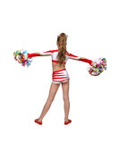 Cheerleader girl standing back Stock Photos