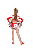 Cheerleader girl standing back Stock Image