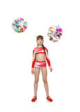 Cheerleader girl throws pompons Royalty Free Stock Image