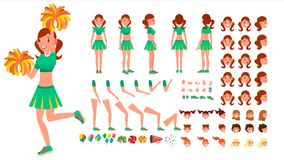 Cheerleader Girl Vector. Animated Character Creation Set. Sport Fan Dancing Cheerleading Woman. Full Length, Front, Side Stock Images