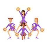 Cheerleader girls with colorful pompoms dancing to support football team during competition. Colorful cartoon character Royalty Free Stock Photos