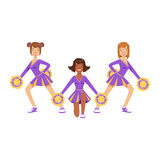 Cheerleader girls with pompoms dancing to support football team during competition. Colorful cartoon character vector Stock Photo