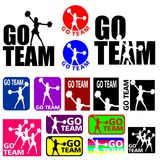 Cheerleader Go Team Designs. Silhouettes illustrations of a sport team cheerleader in different colours Stock Illustration