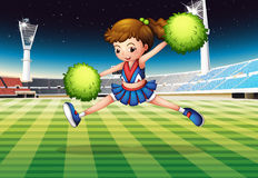 A cheerleader with green pompoms. Illustration of a cheerleader with green pompoms Stock Photo