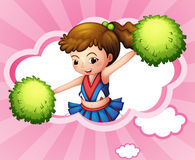 A cheerleader with green pompoms inside a cloud. Illustration of a cheerleader with green pompoms inside a cloud Stock Photo