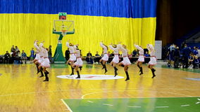 Cheerleader group dancing, F4 Final Basketball championship, Kiev, Ukraine. KIEV - MAR 07: Cheerleader group dancing during F4 Final Basketball championship in stock footage