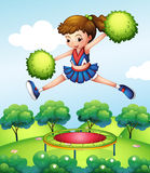 A cheerleader with her green pompoms. Illustration of a cheerleader with her green pompoms Royalty Free Stock Images