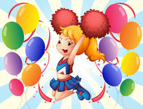 A cheerleader with her pompoms. Illustration of a cheerleader with her pompoms Stock Photo