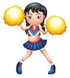 A cheerleader in her uniform with yellow pompoms. Illustration of a cheerleader in her uniform with yellow pompoms on a white background Royalty Free Stock Image
