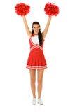 Cheerleader: Het toejuichen met Pom Poms Stock Foto's